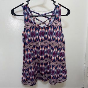 Multicolor Abstract Print Criss Cross Back Tank
